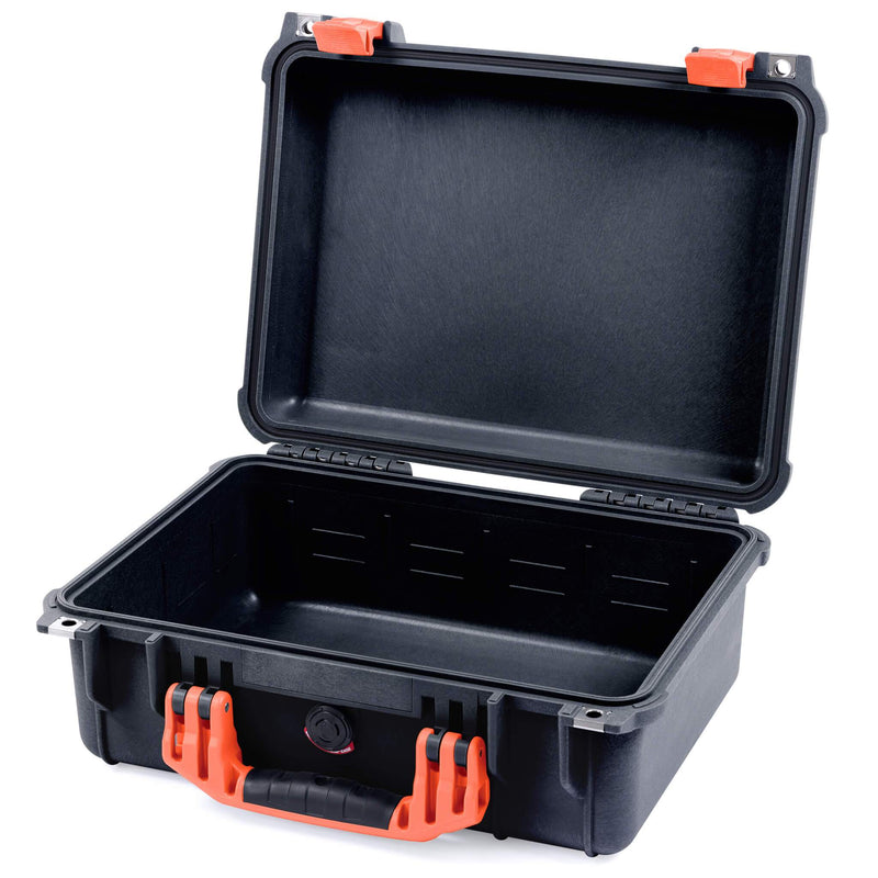 Pelican 1450 Case, Black with Orange Handle & Latches - Pelican Color Case