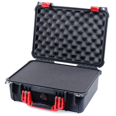 Pelican 1450 Case, Black with Red Handle & Latches - Pelican Color Case