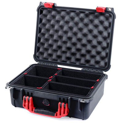 Pelican 1450 Colors Series, Black Protector Case with Red Handle & Latches, Customizable Accessory Bundles - Pelican Color Case