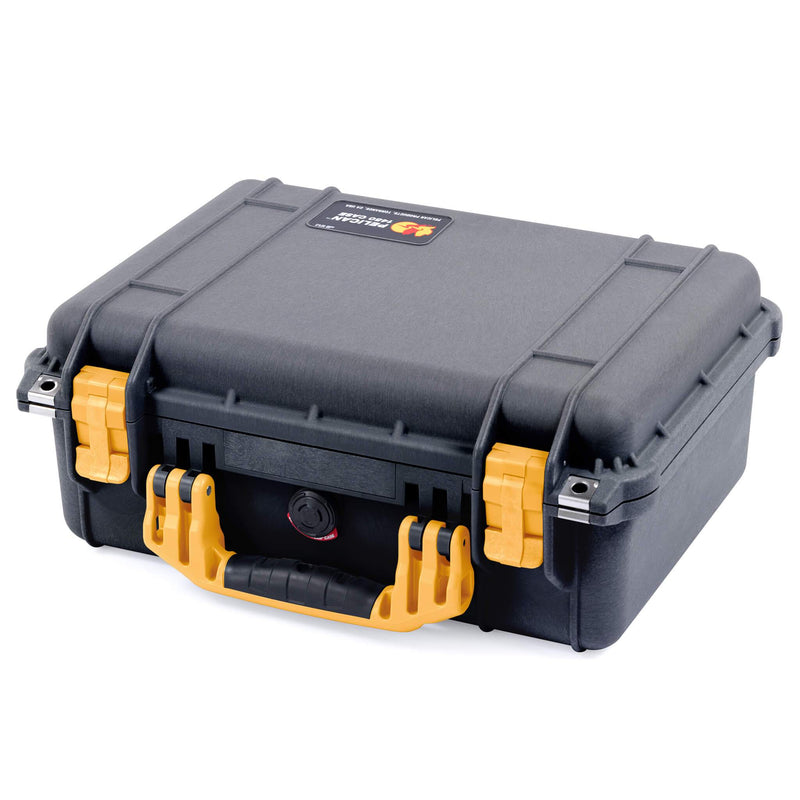 Pelican 1450 Case, Black with Yellow Handle & Latches