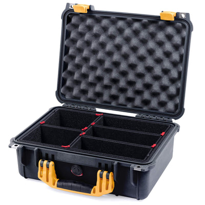 Pelican 1450 Colors Series, Black Protector Case with Yellow Handle & Latches, Customizable Accessory Bundles - Pelican Color Case