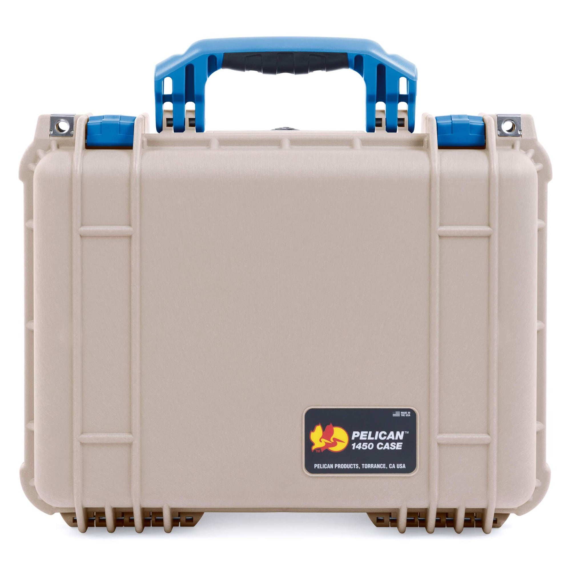 Pelican 1450 Case, Desert Tan with Blue Handle & Latches