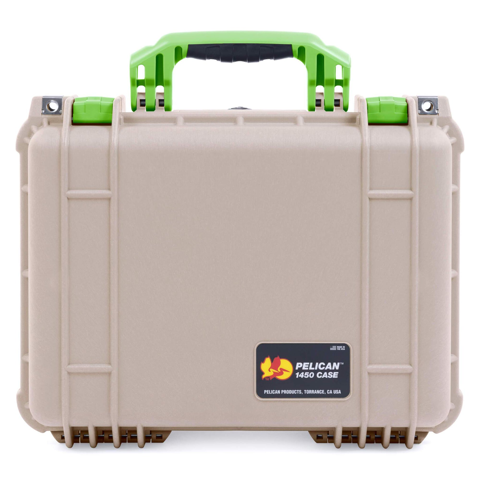 Pelican 1450 Case, Desert Tan with Lime Green Handle & Latches