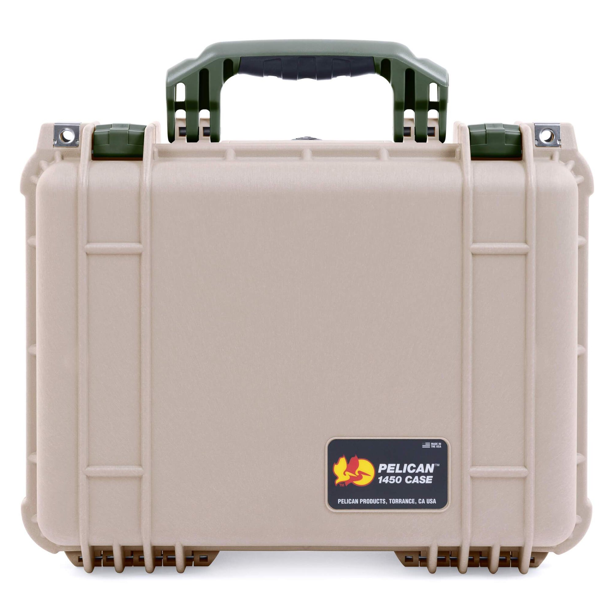 Pelican 1450 Case, Desert Tan with OD Green Handle & Latches