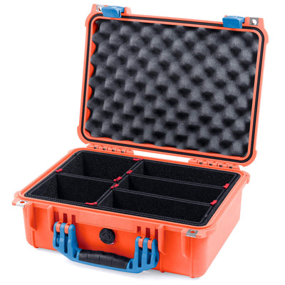 Pelican 1450 Colors Series, Orange Protector Case with Blue Handle & Latches, Customizable Accessory Bundles - Pelican Color Case