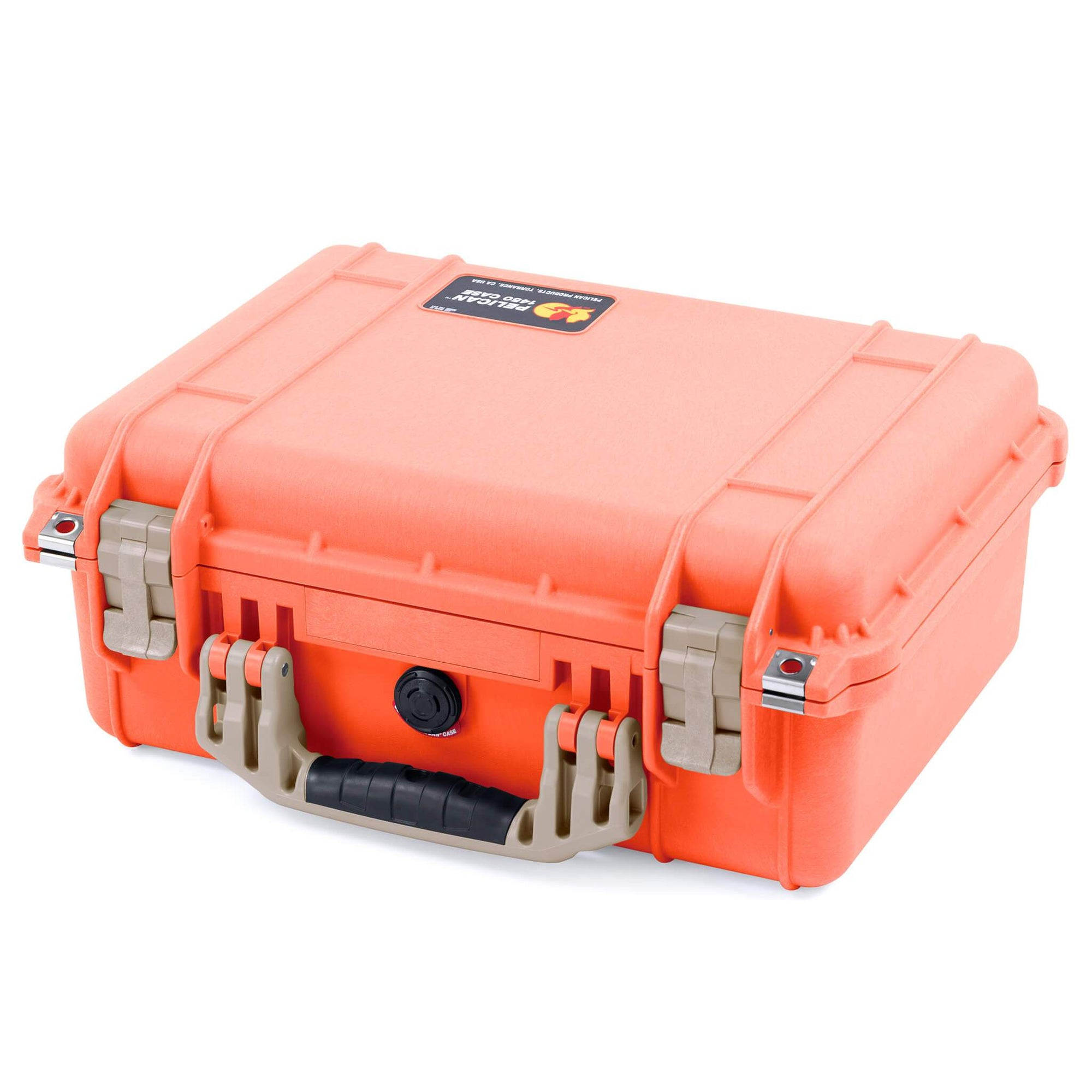 Pelican 1450 Case, Orange with Desert Tan Handle & Latches - Pelican Color Case