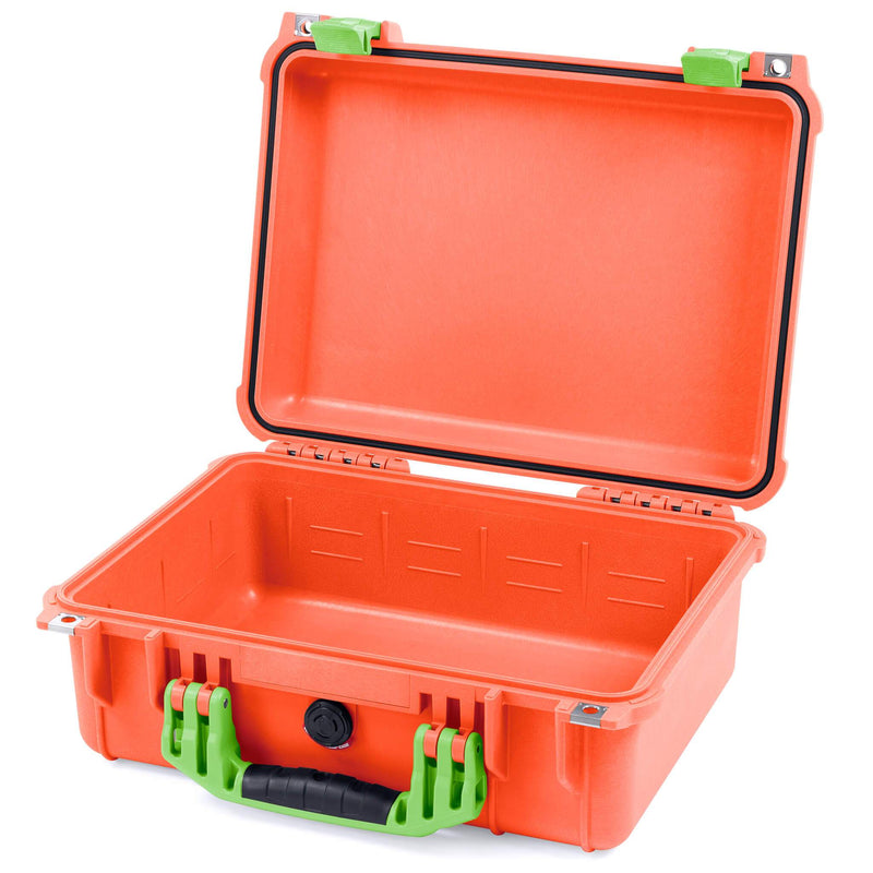 Pelican 1450 Case, Orange with Lime Green Handle & Latches - Pelican Color Case