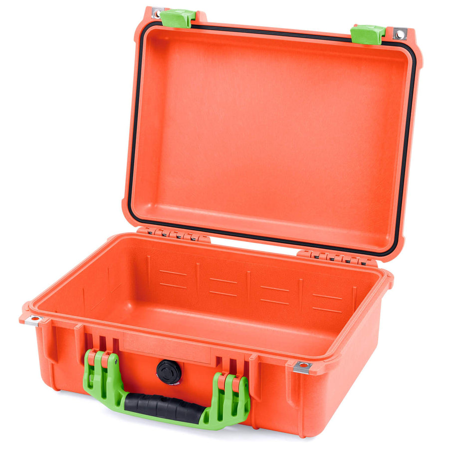 Pelican 1450 Colors Series, Orange Protector Case with Lime Green Handle & Latches, Customizable Accessory Bundles - Pelican Color Case