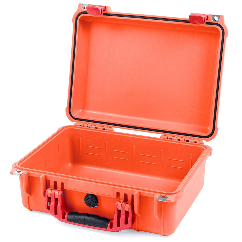 Pelican 1450 Case, Orange with Red Handle & Latches - Pelican Color Case