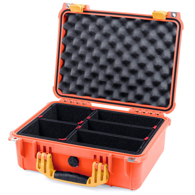 Pelican 1450 Colors Series, Orange Protector Case with Yellow Handle & Latches, Customizable Accessory Bundles - Pelican Color Case