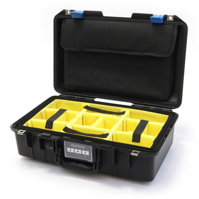 Pelican 1485 Air Colors Series, Black Air Case with Blue Latches, Customizable Accessory Bundles - Pelican Color Case