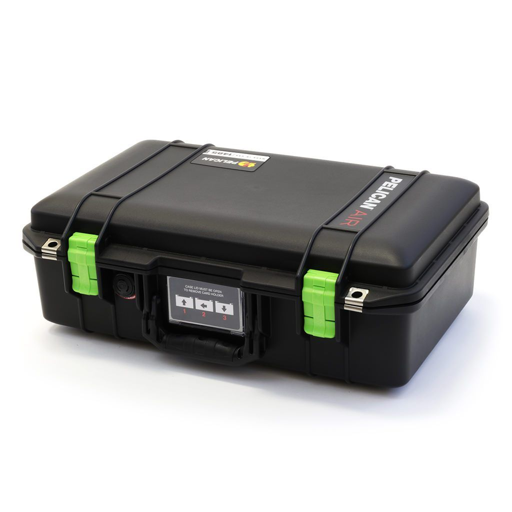 Pelican 1485 Air Colors Series, Black Air Case with Lime Green Latches, Customizable Accessory Bundles - Pelican Color Case