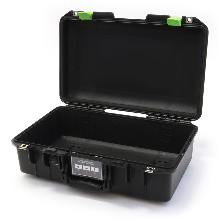 Pelican 1485 AIR COLORS Series, Black Protector Case with Lime Green Latches, Customizable Accessory Bundles