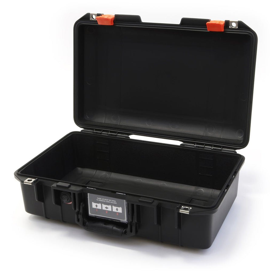 Pelican 1485 AIR COLORS Series, Black Protector Case with Orange Latches, Customizable Accessory Bundles