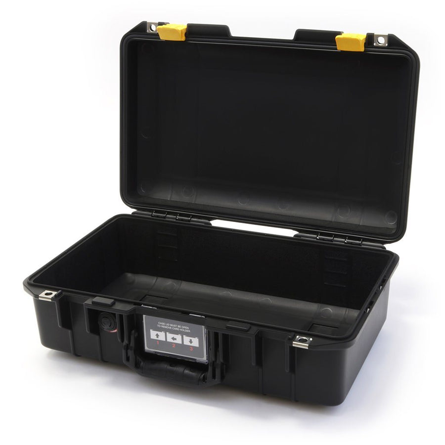 Pelican 1485 AIR COLORS Series, Black Protector Case with Yellow Latches, Customizable Accessory Bundles