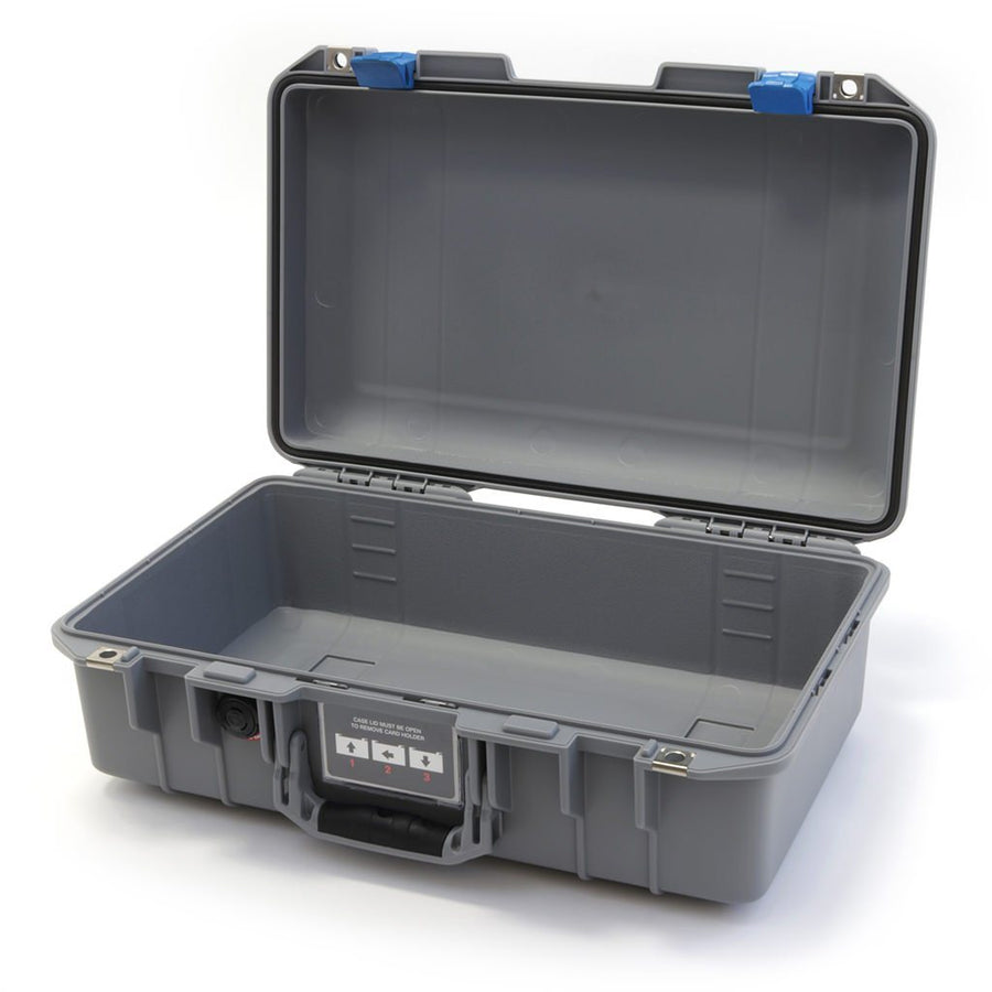 Pelican 1485 AIR COLORS Series, Silver Gray Protector Case with Blue Latches, Customizable Accessory Bundles