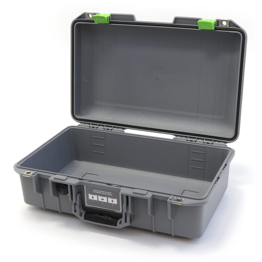 Pelican 1485 AIR COLORS Series, Silver Gray Protector Case with Lime Green Latches, Customizable Accessory Bundles