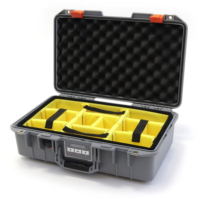 Pelican 1485 Air Colors Series, Silver Gray Air Case with Orange Latches, Customizable Accessory Bundles - Pelican Color Case