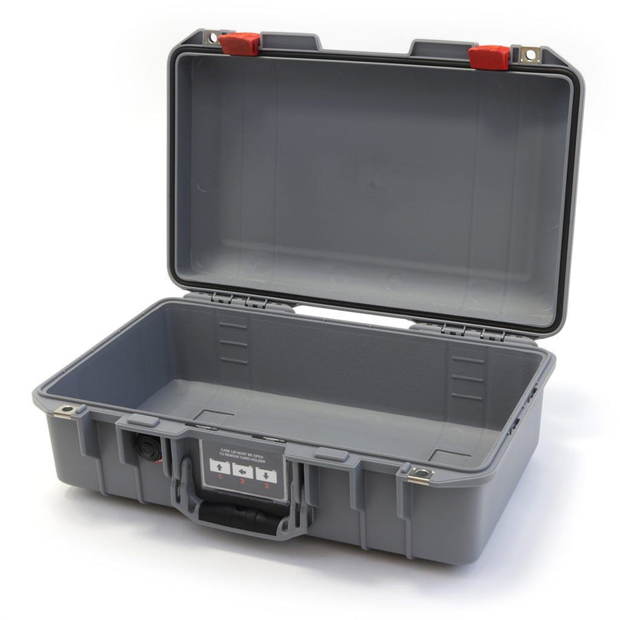 Pelican 1485 AIR COLORS Series, Silver Gray Protector Case with Red Latches, Customizable Accessory Bundles