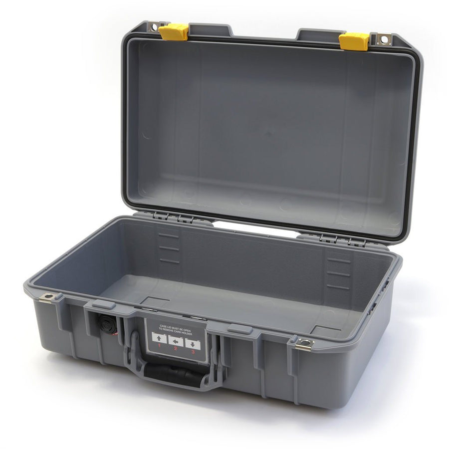 Pelican 1485 AIR COLORS Series, Silver Gray Protector Case with Yellow Latches, Customizable Accessory Bundles