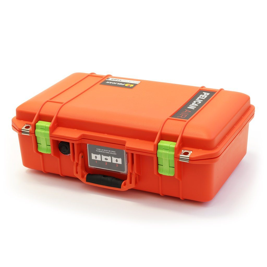 Pelican 1485 Air Colors Series, Orange Air Case with Lime Green Latches, Customizable Accessory Bundles