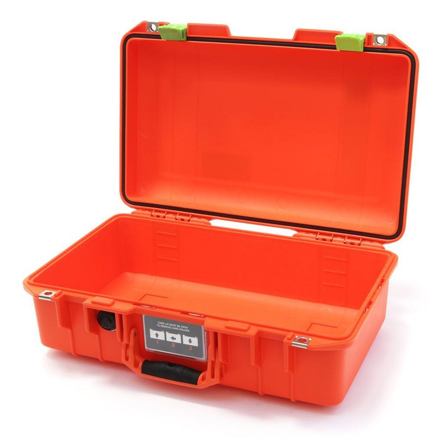 Pelican 1485 AIR COLORS Series, Orange High Visibility Protector Case with Lime Green Latches, Customizable Accessory Bundles