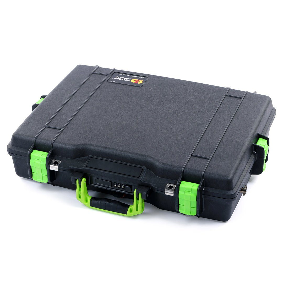 Pelican 1495 Case, Black with Lime Green Handle & Latches - Pelican Color Case