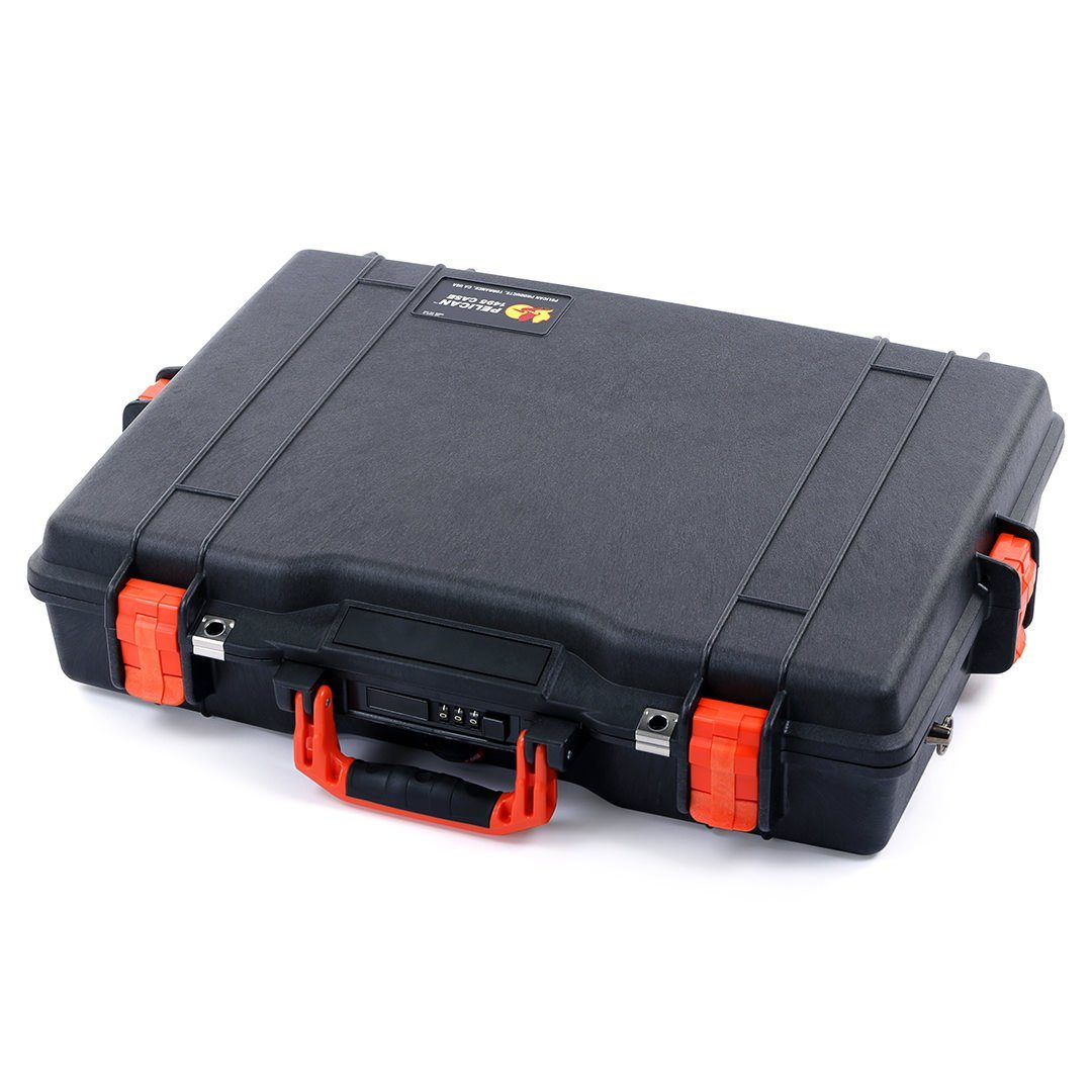 Pelican 1495 Case, Black with Orange Handle & Latches - Pelican Color Case