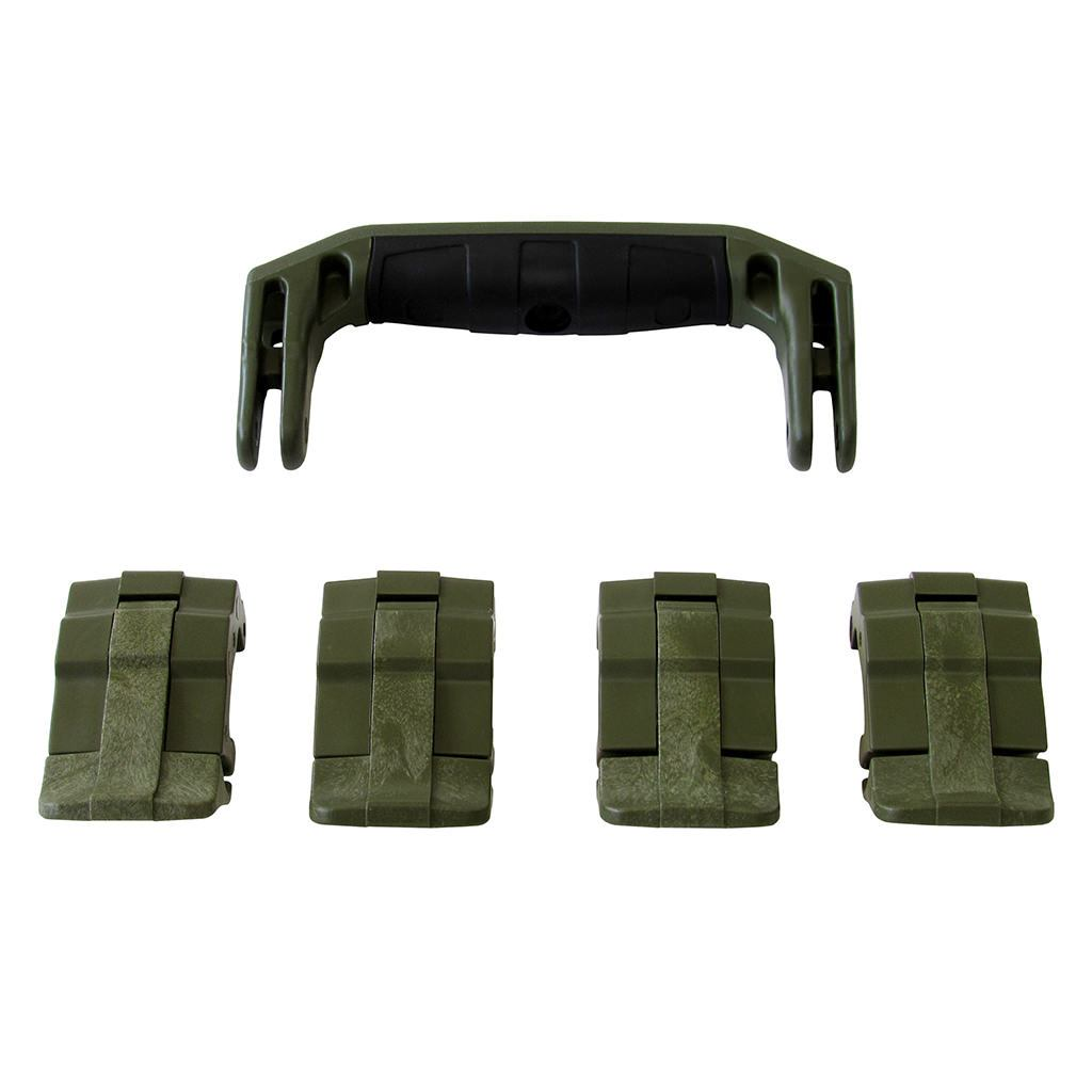 OD Green Replacement Handle & Latches for Pelican 1495, One OD Green Handle, 4 OD Green Latches - Pelican Color Case