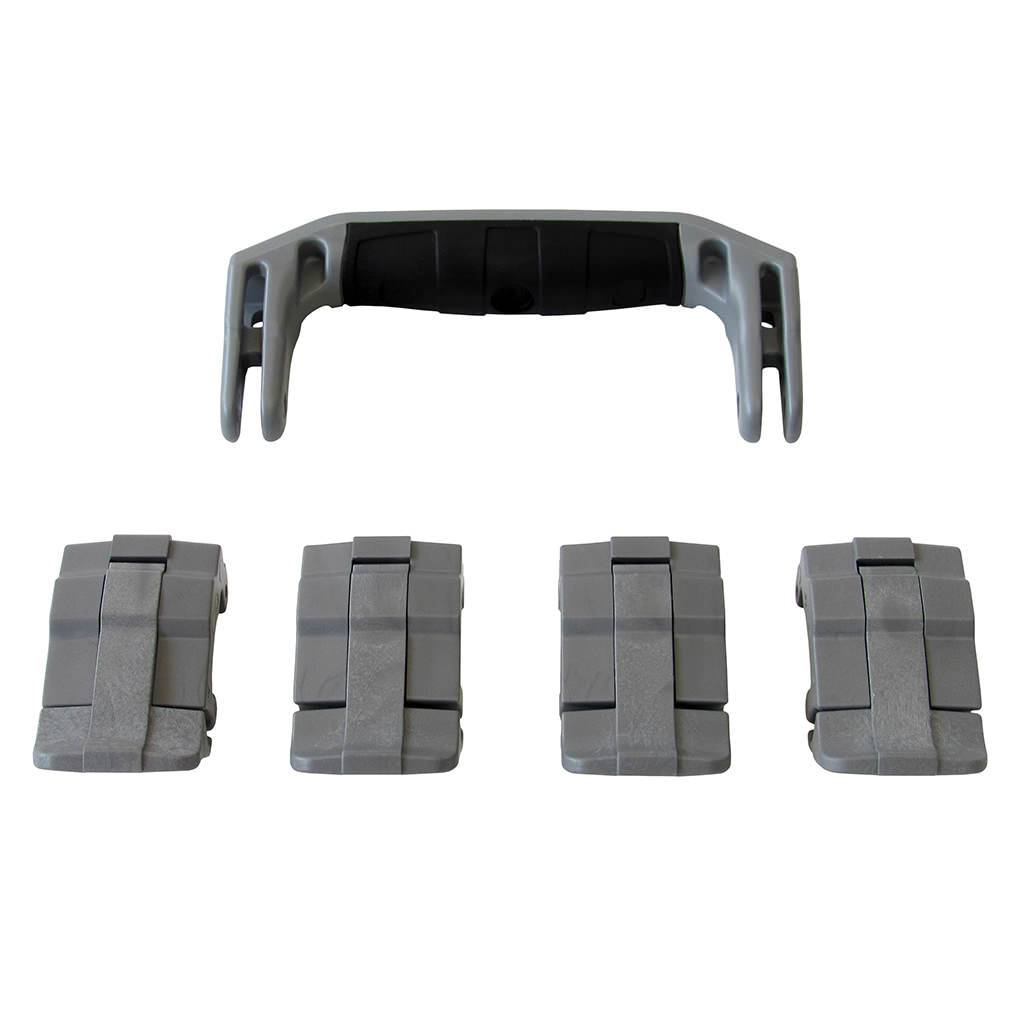 Silver Gray Replacement Handle & Latches for Pelican 1495, One Silver Gray Handle, 4 Silver Gray Latches - Pelican Color Case