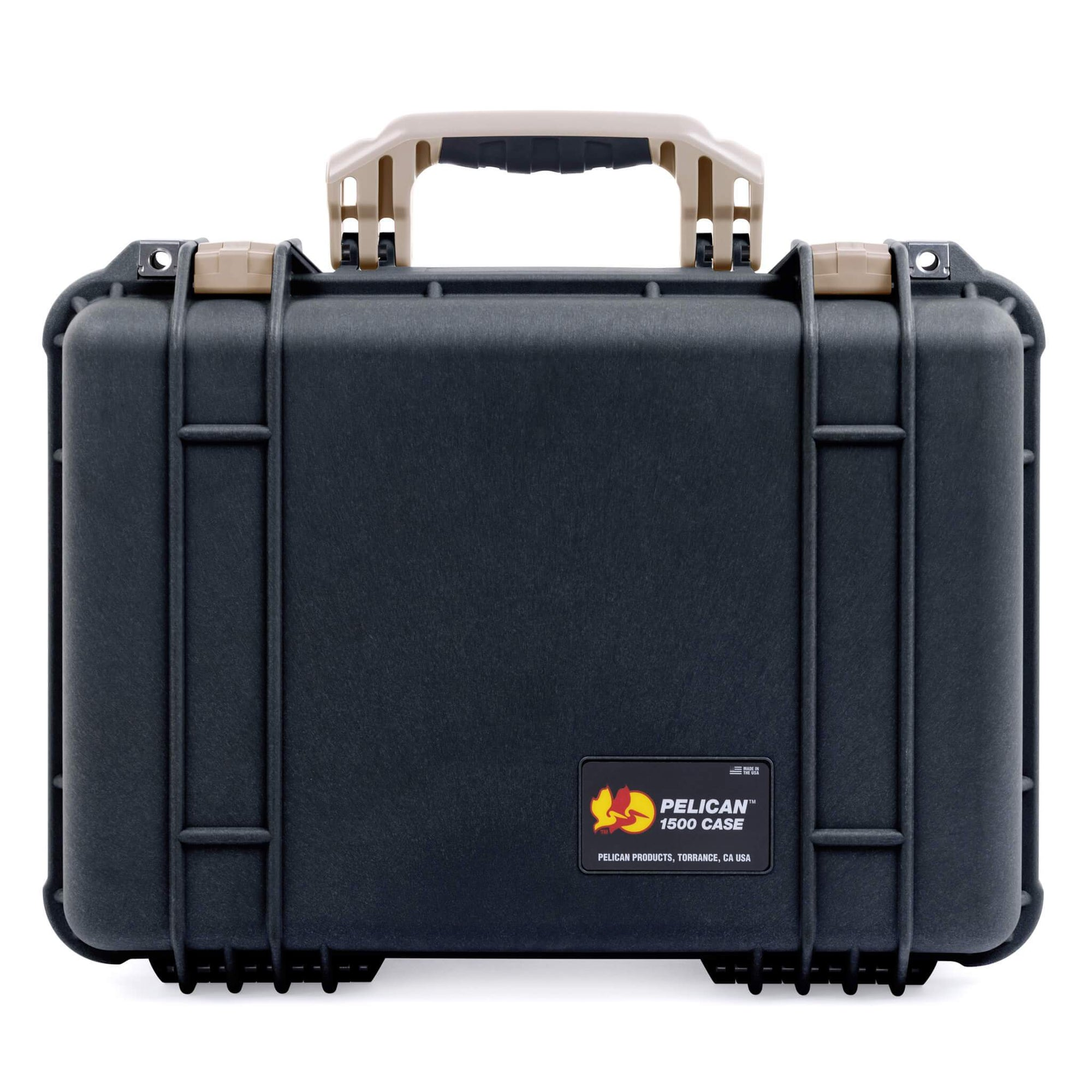 Pelican 1500 Case, Black with Desert Tan Handle & Latches