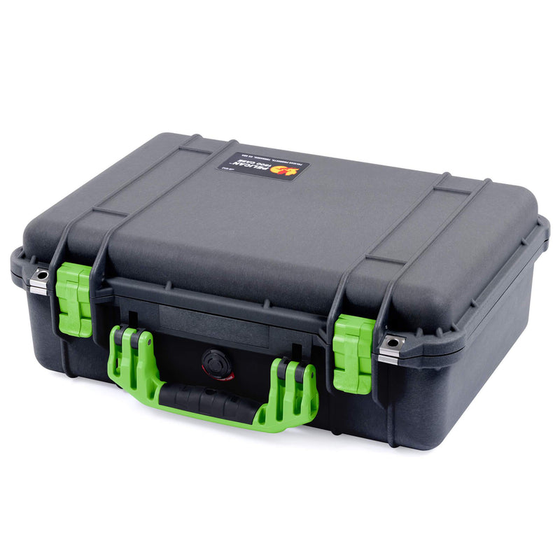 Pelican 1500 Case, Black with Lime Green Handle & Latches