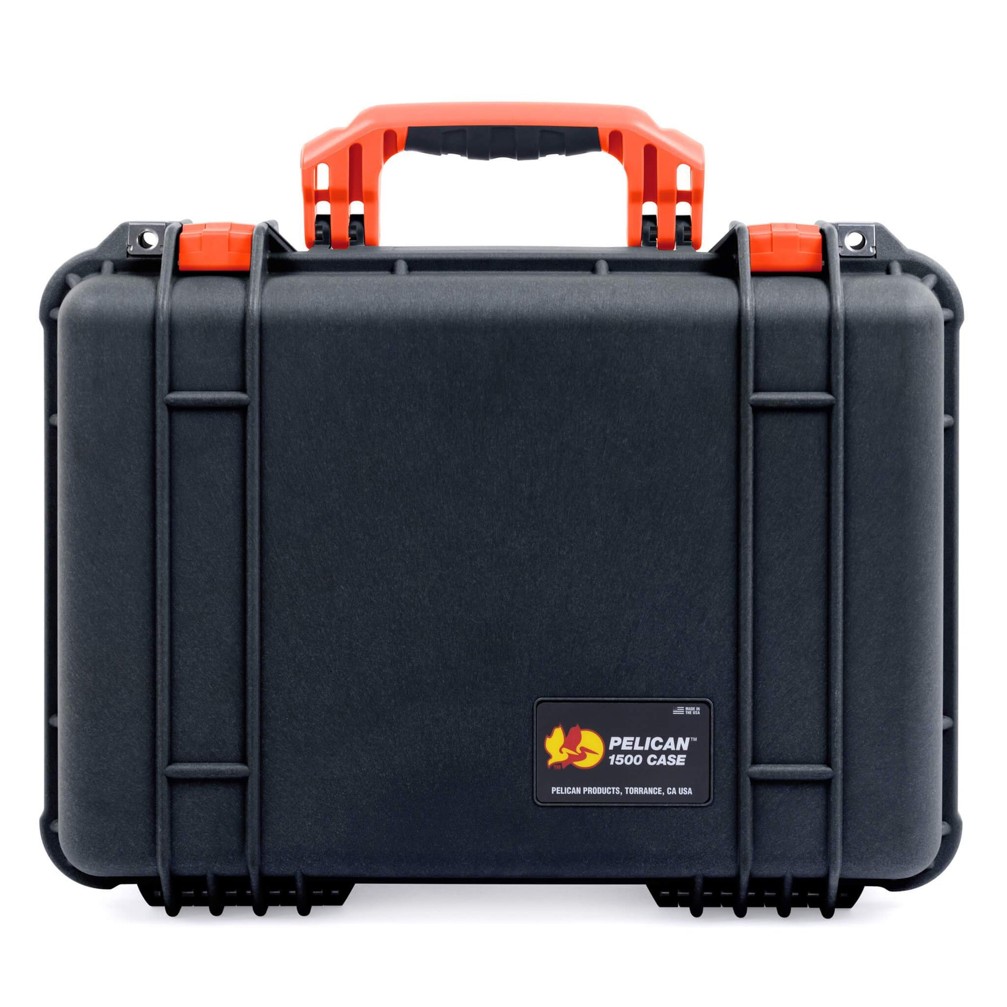 Pelican 1500 Case, Black with Orange Handle & Latches