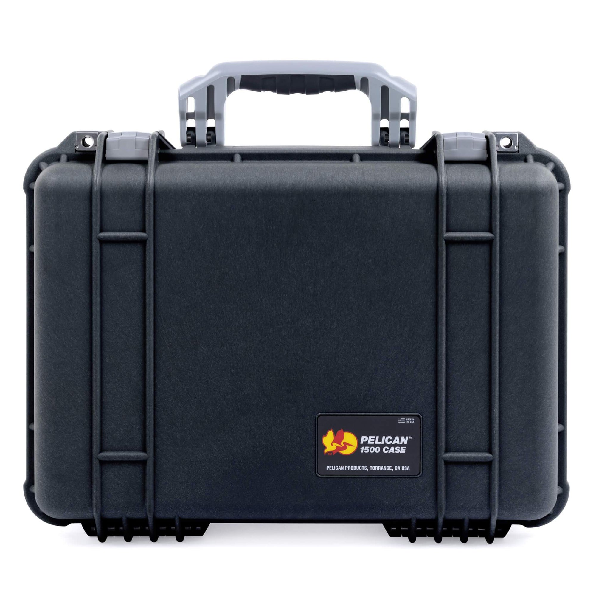 Pelican 1500 Case, Black with Silver Handle & Latches