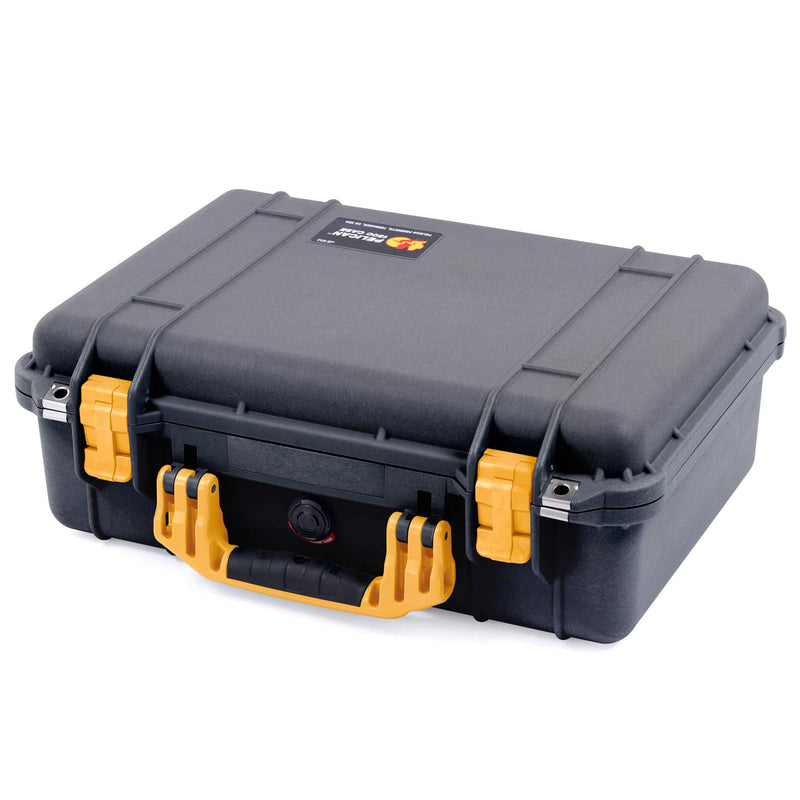 Pelican 1500 Case, Black with Yellow Handle & Latches