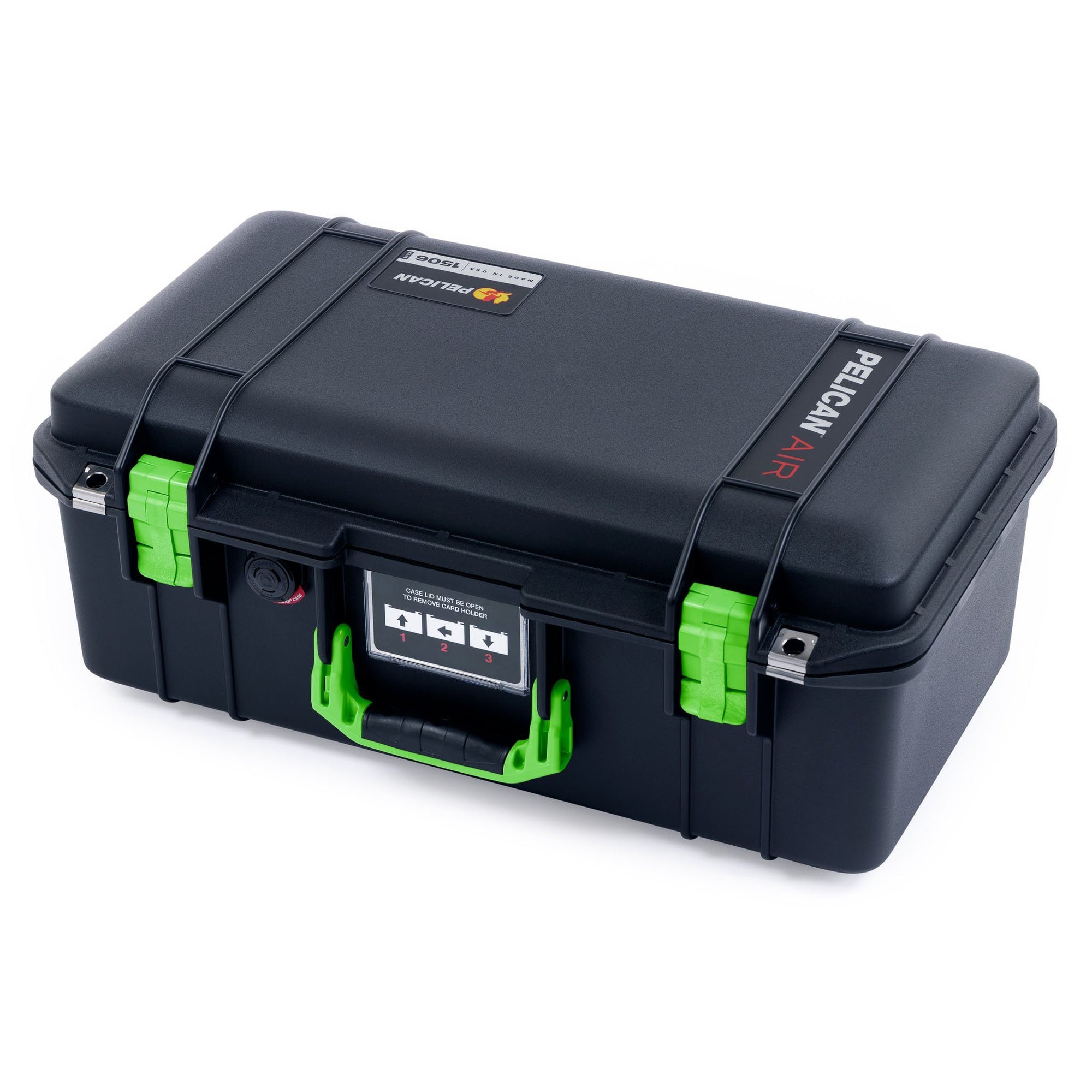 Pelican 1506 Air Case, Black with Lime Green Handles & Latches - Pelican Color Case