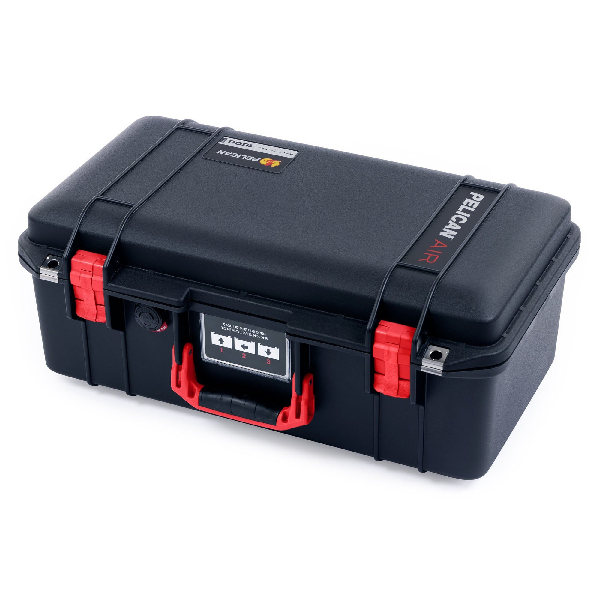 Pelican 1506 Air Case, Black with Red Handles & Latches - Pelican Color Case