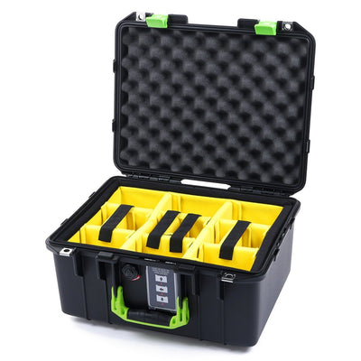 Pelican 1507 Air Case, Black with Lime Green Handle & Latches - Pelican Color Case
