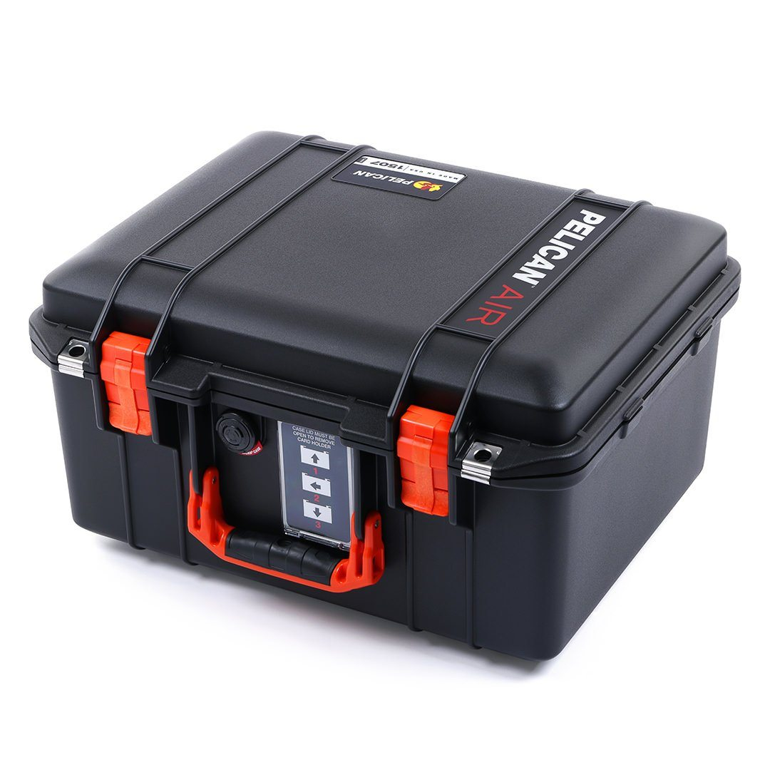 Pelican 1507 Air Case, Black with Orange Handle & Latches - Pelican Color Case