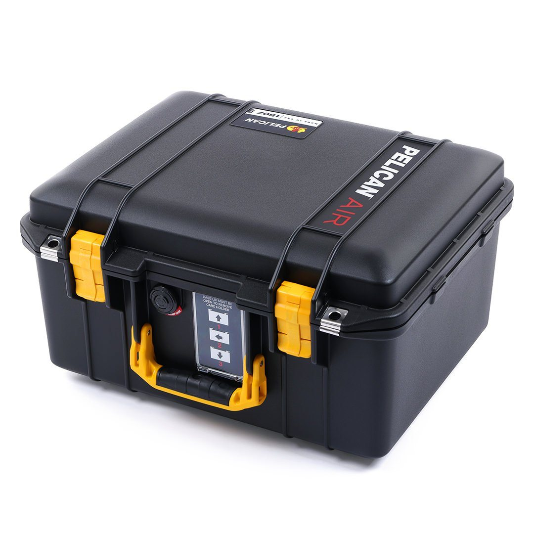 Pelican 1507 Air Case, Black with Yellow Handle & Latches - Pelican Color Case
