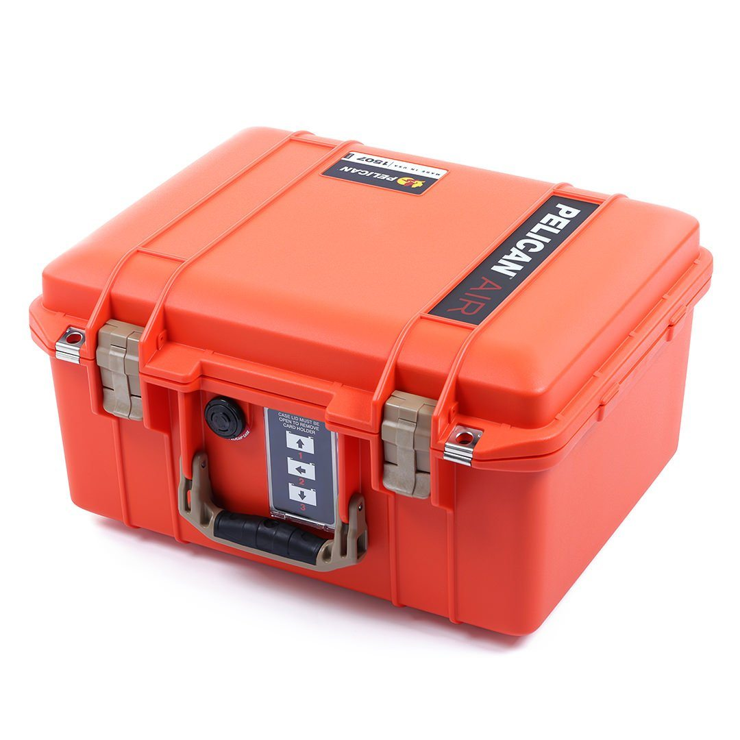 Pelican 1507 Air Case, Orange with Desert Tan Handle & Latches - Pelican Color Case