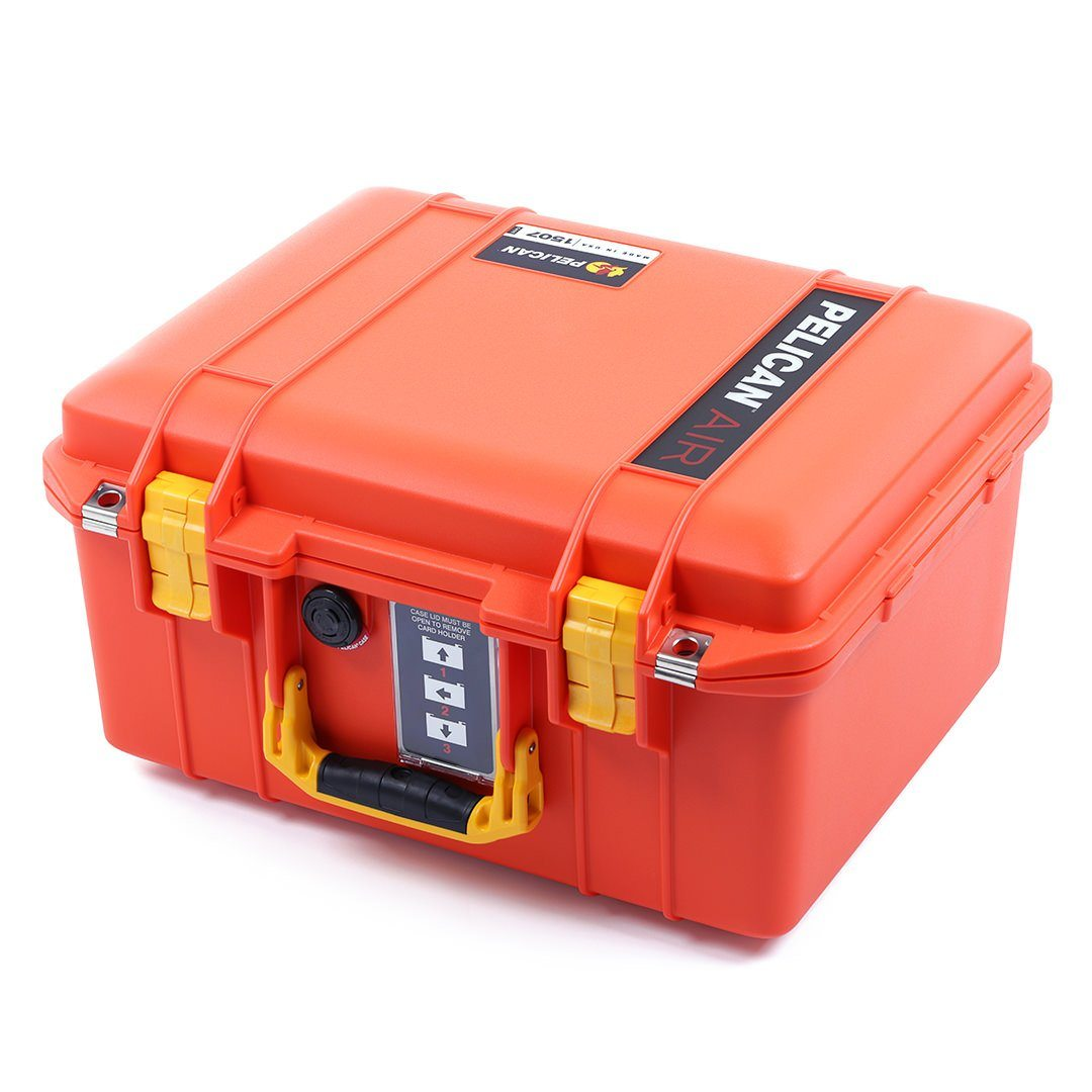 Pelican 1507 Air Case, Orange with Yellow Handle & Latches - Pelican Color Case