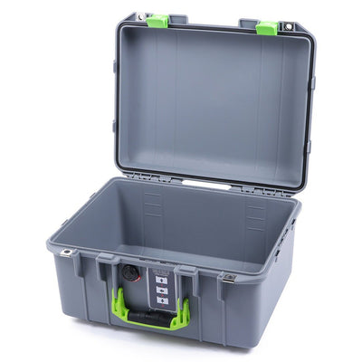 Pelican 1507 Air Case, Silver with Lime Green Handle & Latches - Pelican Color Case