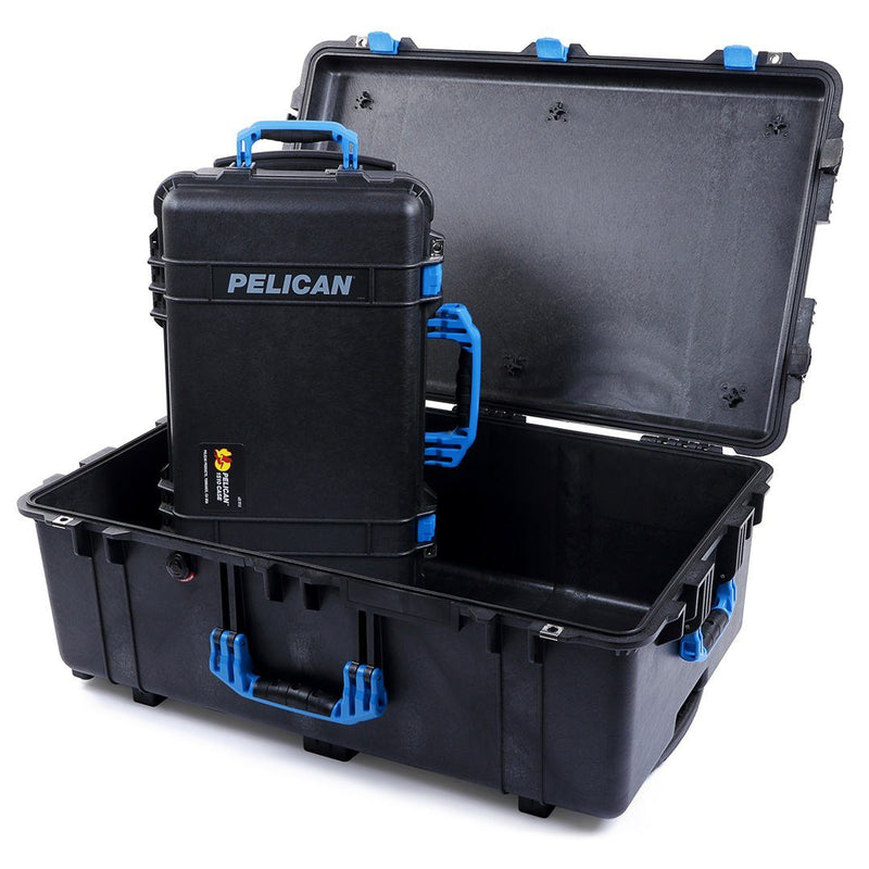 Pelican 1510 & 1650 Colors Series Bundle, Black Protector Cases with Blue Handles & Latches - Pelican Color Case