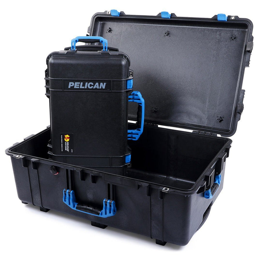 Pelican 1510 & 1650 Colors Series Bundle, Black Protector Cases with Blue Handles & Latches