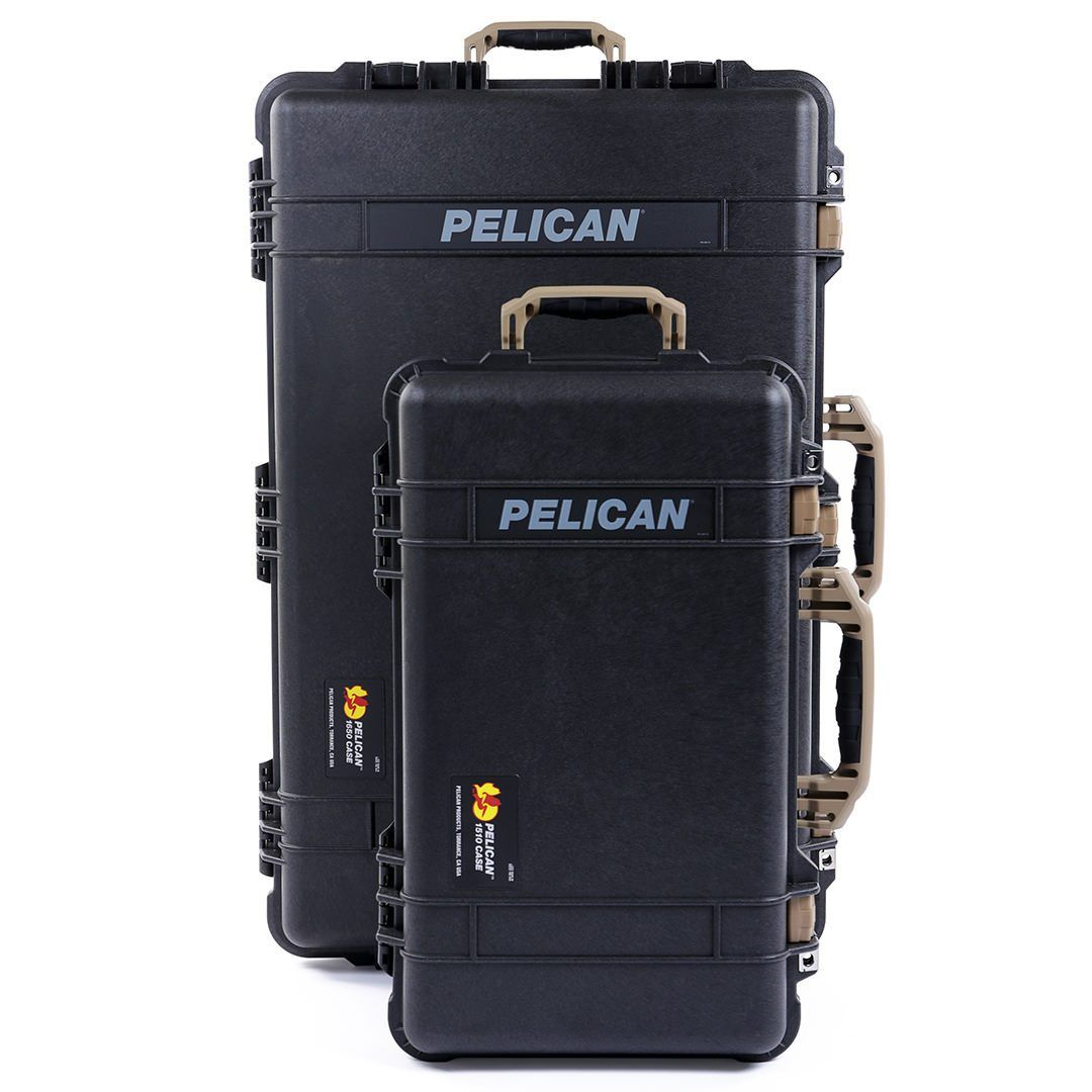 Pelican 1510 & 1650 Colors Series Bundle, Black Protector Cases with Desert Tan Handles & Latches