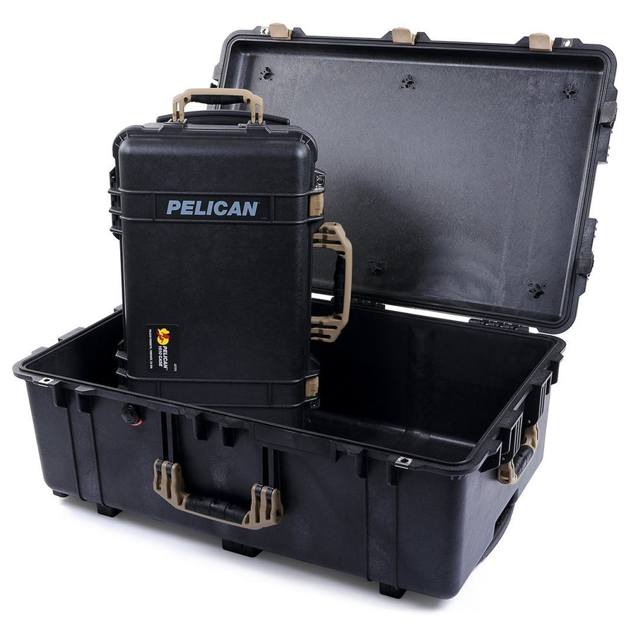 Pelican 1510 & 1650 Colors Series Bundle, Black Protector Cases with Desert Tan Handles & Latches - Pelican Color Case