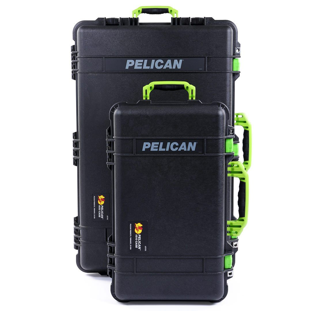 Pelican 1510 & 1650 Colors Series Bundle, Black Protector Cases with Lime Green Handles & Latches