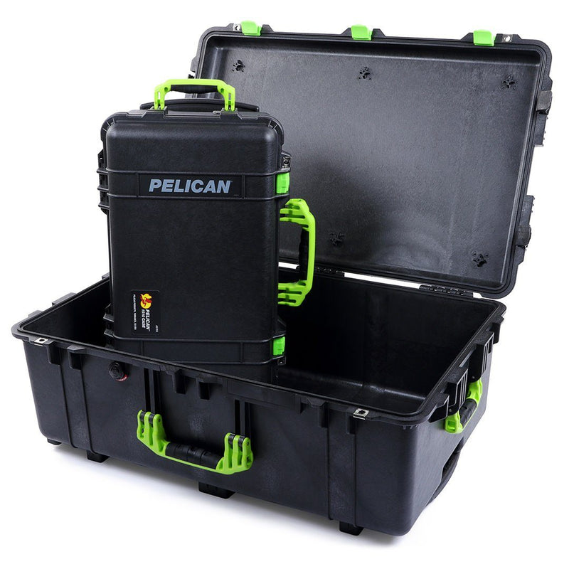 Pelican 1510 & 1650 Case Bundle, Black with Lime Green Handles & Latches - Pelican Color Case