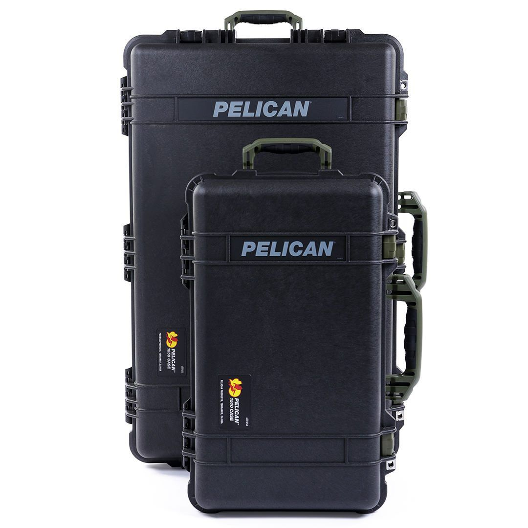 Pelican 1510 & 1650 Colors Series Bundle, Black Protector Cases with OD Green Handles & Latches